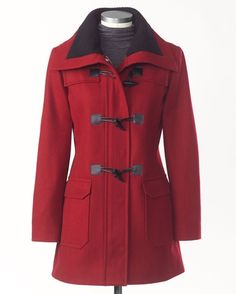 Colored Wool Toggle Coat, Sizes S-3X