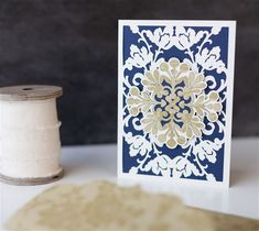 Intricate Card - An ornate card is the perfect addition to a fancy wedding gift. This project includes images from the Cricut® Anna's Lace Cards and Embellishments Cartridge.  xoxo, Anna Rose