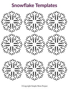 Click and print one or all of our small and free printable paper snowflake patterns! Perfect for a Frozen birthday party, simple snowflake coloring page or decorate the snowflake classroom activity. Paper Snowflake Patterns, Snowflake Stencil, Snowflake Template, Printable Crafts, Printable Paper, Free Printable, Printables, Winter Crafts For Kids, Diy For Kids