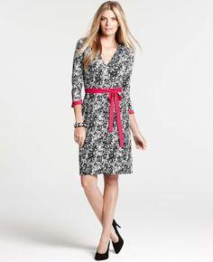 Ann Taylor - AT Dresses - Paper Mache Print 3/4 Sleeve Wrap Dress