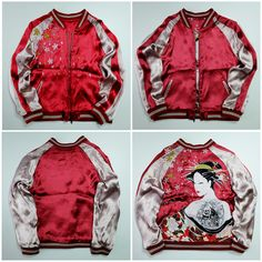 Super Rare Deadstock Premium Vintage Japanese Japan Kacho Fugetsu Red Cherry Blossoms Geisha Oiran Maiko Yokosuka Jumper Tattoo Art Embroidery Embroidered Bomber Sukajan Souvenir Jacket Tour Jacket ( SIZE : M ) - Japan Lover Me Store
