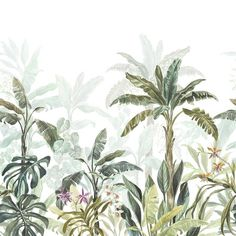 Jungle-palms – art wall mural - Unique wall decal mural - Self adhesive vinyl wallpaper- Vlies non-woven - Removable dekorfoil - Nature wall Vinyl Wallpaper, Textured Wallpaper, Wall Murals, Wall Art, Wall Decal, Plant Illustration, Tropical Leaves, Tropical Paradise, Adhesive Vinyl