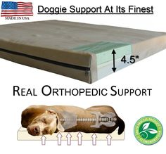 Large Breed Dog Beds - L Orthopedic GEL Memory Foam. Real orthopedic support, helps pets with hip and spine problems. Made in USA. Washable.