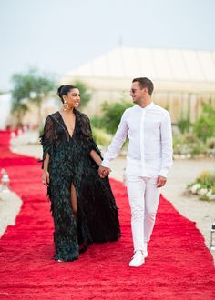 Feathered Naeem Khan cape | Hannah Bronfman on the 8 Looks She Wore at Her 4-Day Wedding Weekend Extravaganza in Morocco
