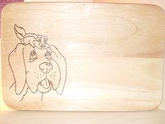 """Brettchen """"Hund mit Streifenhörnchen"""" von Muffelchens  Bretterbude auf DaWanda.com"""