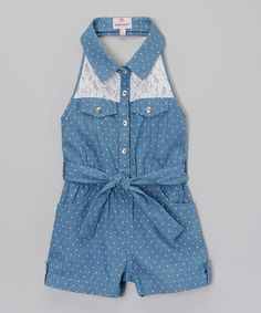 Umm how stinkin cute is this!? Take a look at the Light Blue Polka Dot Lace Denim Romper - Toddler & Girls on #zulily today!