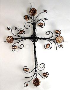 Bronze beaded wire cross $15
