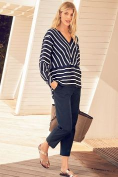 Buy Navy Capri Trousers from Next Russia