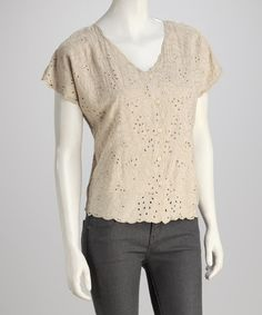 Take a look at this Beige Eyelet Top by Coline USA on #zulily today! $22