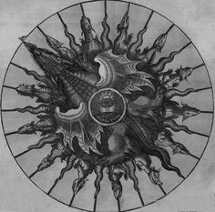 """Petrus Apianus - Dragon and the Lunar Cycle (detail),""""Astronomicum Caesareum"""", 1540.As shown in this wheel chart, there is an ancient connection in Mythology and Astrology, with Dragon and the Lunar Cycle, seen here in the Lunar Node (the point where the Moon crosses over the Ecliptic was also called the Dragon's Head and Tail, dictating the periods of the Eclipse Cycle, according to the Phi Ratio. / Sacred Geometry <3"""