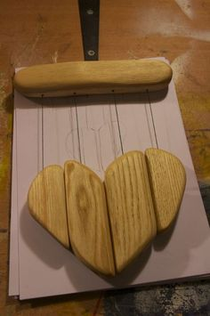 Wooden Heart Wind Chime : 9 Steps (with Pictures) - Instructables Wooden Wind Chimes, Diy Wind Chimes, Diy Craft Projects, Wood Projects, Craft Ideas, Primitive Crafts, Wood Crafts, Diy Crafts, Wooden Hearts Crafts