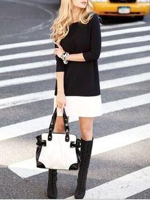 Vestido cuello redondo ribete combinado -negro blanco