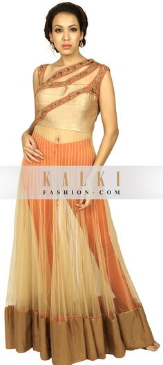 Buy Online from the link below. We ship worldwide (Free Shipping over US$100) http://www.kalkifashion.com/beige-and-orange-sheer-anarkali-suit-enhanced-in-zardosi-embroidery.html