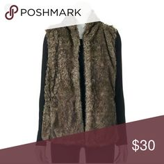 Sebby Faux Fur Vest Debby faux fur Vest with black sweater back. Size large. Super cute piece perfect for Fall and Winter. Worn once. Sebby Jackets & Coats Vests