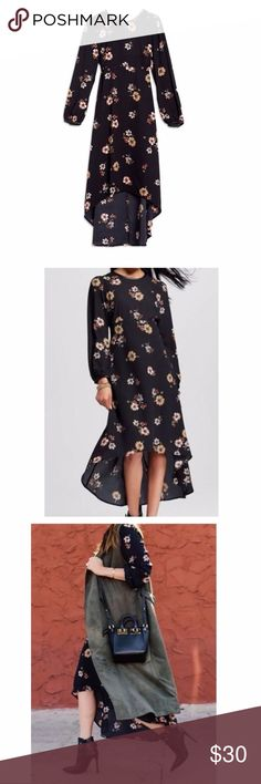 """Who What Wear Black Floral High-Low  Dress, XS Who What Wear Dress: - From Who What Wear 2016 Fall collection - Asymmetric high-low hem: roughly midi length in front, maxi length in back - Very flattering empire waist - Blouson sleeves - Faux leather trim around collar and cuffs - crew neck in front - Zipper and button closure in back - Slight key-hole in back between zipper and button - Worn once! Like new condition!  Approx. Measurements: - :size XS - armpit-to-armpit = 17"""" - sleeve length…"""