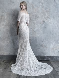 madison james 2019 bridal half sleeves off the shoulder straight across neckline full embellishment elegant fit and flare sheath wedding dress covered back chapel train bv -- The 2019 Madison James Bridal Collection is A Modern Bride's Dream Pretty Wedding Dresses, Wedding Dress Pictures, Wedding Dress Sizes, Bridal Dresses, Wedding Gowns, Bridesmaid Dresses, Wedding Frocks, Red Wedding, Elegant Dresses