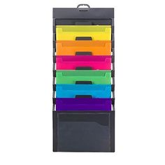 Smead Cascading Wall Organizer 6 Pockets Letter Size Gray/Bright (92060)