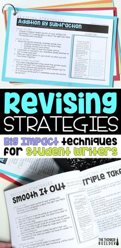 """Learn twelve """"big impact"""" revising strategies for students to use to improve their writing. (The Thinker Builder) Narrative Writing, Informational Writing, Persuasive Writing, Writing Workshop, Teaching Writing, Writing Activities, Writing Resources, Teaching Ideas, Teaching English"""
