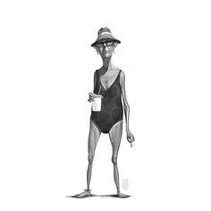Some funny beach character illustrations by designer and illustrator Ruslan Suleimanov. Ruslan Suleimanov is a talented graphic designer and illustrator Beach Illustration, Graphic Design Illustration, Digital Illustration, Character Concept, Character Art, Concept Art, Human Sketch, Cartoon Sketches, Character Design Animation