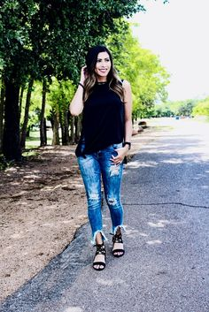 casual but dressy outfit! Black slit tank, with black tie up heel sandals and some distressed and frayed denim! Spring outfit