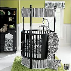 a round crib! future room colors for kids, love the black and white with green pop, orange or teal would be cool too