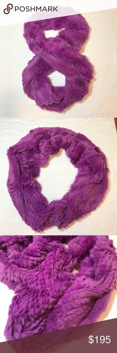 """Jocelyn Women's Rex Rabbit Fur Knit Infinity Scarf Jocelyn Women's Rex Rabbit Fur Knit Infinity Scarf - Hot Pinkish purple.9""""W x 56""""L  Rabbit fur/ cotton/ polyester From the hollywood collection Dyed rabbit Fur origin: china Infinity scarf for infinite warmth jocelyn Accessories Scarves & Wraps"""