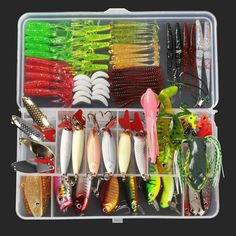 A full complement of fishing lures to cover nearly all kinds of fish or water! You choose the combination of packs you want or get them all to load up your artificial bait arsenal. Bass, pike, crappie