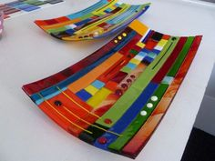Image result for multicoloured fused glass bowls