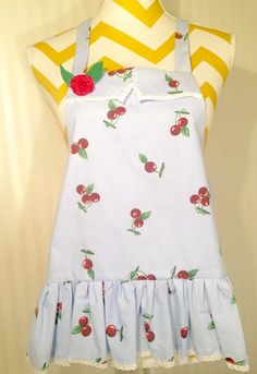 Size 2 Blue Retro Cherry Girl's Apron by MakeMeAMama on Etsy