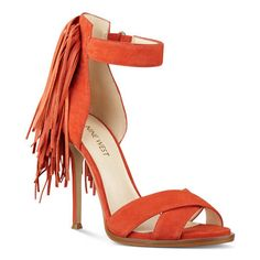 Hustle Open Toe Sandals in Red/Orange Suede | Nine West