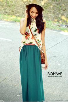 romwe blouse and  skirt    romwe.com