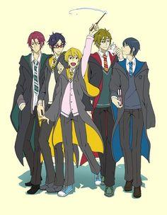 Free! x Harry Potter - Haru (Haruka) Nanase , Nagisa, Makoto. Rei and Rin