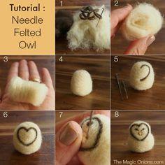 Needle Felted Owl : DIY Tutorial - it's easy! - The Magic Onions Needle Felted Owl, Needle Felting Kits, Needle Felting Tutorials, Wet Felting, Felt Owls, Felt Birds, Felt Animals, Felted Wool Crafts, Felt Crafts