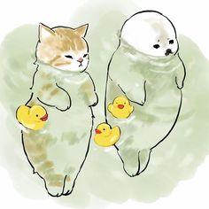 Japon Illustration, Arte Sketchbook, Cat Drawing, Pretty Art, Aesthetic Art, Aesthetic Anime, Cat Art, Animal Drawings, Art Sketches