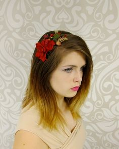 Winter Flower Crown, Holiday Headband, Red Flower Headpiece, Little Bird Headband, Mori Kei, Lolita, Christmas, Holly, Cosplay, Woodland by RuthNoreDesigns on Etsy