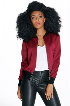 Boohoo - Petite - Alice Scuba Zip Detail Bomber Jacket in wine red.