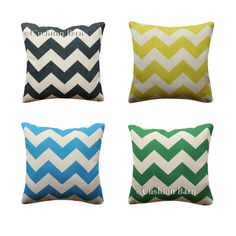 Chevron Geometric Cushion Cover Blue Green Yellow Black Chevron Pillow Cover Black Chevron, Yellow Black, Blue Green, Chevron Pillow, Geometric Cushions, Pillow Covers, Throw Pillows, Ebay, Cushions