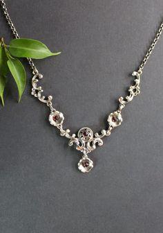 Jewelry, Fashion, Little Flowers, Rhinestones, Dirndl, Neck Chain, Handmade, Silver, Jewlery