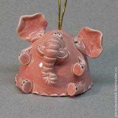 Колокольчики ручной работы. Ярмарка Мастеров - ручная работа. Купить Слон колокольчик. Handmade. Слон, колокольчик, глина, Керамика