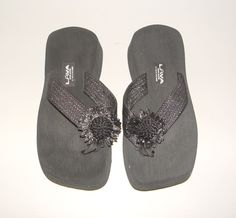 112bfe3e6b2f Womens lava black flip flop sandals beach pool flops shoes 7 1 2 - 8
