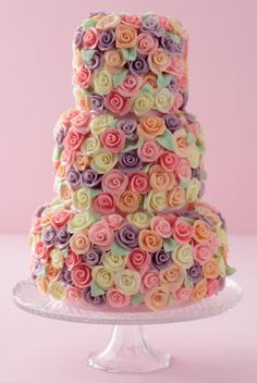 Colored Rose Cake