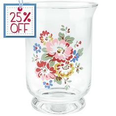 Brighten+up+your+home+with+this+pretty+Bleached+Flowers+hurricane+lamp.