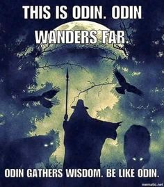 This is Odin. Odin wanders far. Be like Odin. Viking Life, Viking Warrior, Viking Art, Thor, Norse Religion, Viking Quotes, Viking Sayings, Norse Pagan, Norse Runes