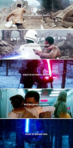 the true soldier fights not because he hates what is in front of him, but because he loves what is behind him. #starwars