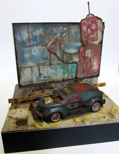 "PT Sturmgacruiser with Fallout Repcon Billboard. REVELL 1/24 scale. By ""DMX"" Dragomir Milanovic. #diorama  #model_cars #Post_Apocalyptic"