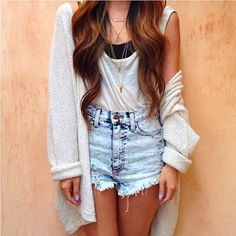 High waisted shorts, looks like a tank, and an oversized sweater-jacket.