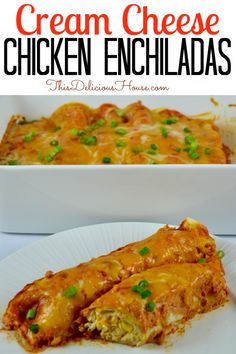 Cream Cheese Chicken Enchiladas are a delicious and easy meal to make ahead. Cook the chicken in your crockpot for easy meal prep and top the enchiladas with a creamy sour cream enchilada sauce. Barbecue Recipes, Grilling Recipes, Crockpot Recipes, Healthy Recipes, Sour Cream Enchiladas, Chicken Enchiladas, Mexican Dishes, Mexican Food Recipes, Dinner Recipes
