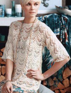 Crochet beautiful and openwork jacket. Free patterns for crochet jacket Zig Zag Crochet, T-shirt Au Crochet, Pull Crochet, Crochet Woman, Free Crochet, Crocheted Lace, Crochet Pullover Pattern, Crochet Cardigan Pattern, Lace Cardigan