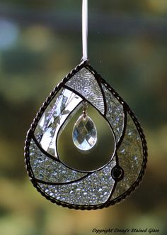 Teardrop Stained Glass Suncatcher by connysstainedglass on Etsy