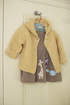 Knit garter stitch baby cardigan sweater jacket--free pattern